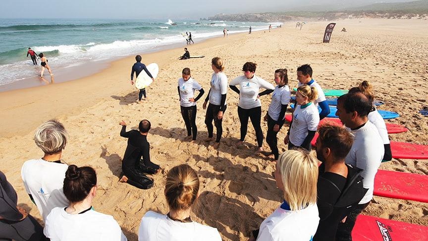 group lesson surf instructor karma surf school